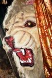 A cara de um leão, consultada frequentemente como o rei da selva Exposições com um bonito, estilo dos desenhos animados durante a foto de stock royalty free