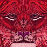 Cara de um leão do fogo com um olhar inteligente ilustração royalty free