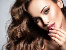 Cara de uma mulher bonita com cabelo marrom longo imagens de stock