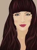 Cara de uma mulher moreno bonita Imagens de Stock Royalty Free