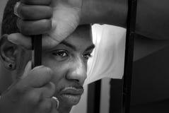 Cara de un hombre enojado del afroamericano Fotografía de archivo