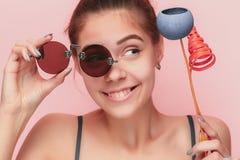 Cara de una chica joven hermosa con un cierre limpio de la cara fresca para arriba Fotos de archivo libres de regalías