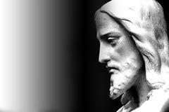 Cara de una estatua religiosa de Jesús Foto de archivo