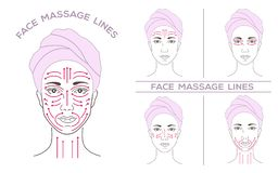 Cara de una mujer joven hermosa en un salón del balneario, en un turbante, una toalla, líneas del masaje ilustración del vector