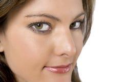 Cara de Womans en el fondo blanco Imagen de archivo libre de regalías