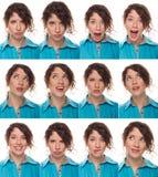 Cara del agente, una compilación de emociones Imagen de archivo