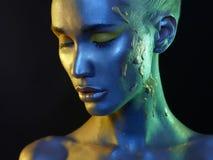 Cara del arte de cuerpo y de la muchacha de maquillaje Fotografía de archivo libre de regalías