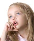 Cara del bebé de la belleza en el fondo blanco fotos de archivo libres de regalías