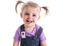 Cara del bebé de la belleza en el fondo blanco 3 años Fotografía de archivo libre de regalías