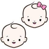 Cara del bebé de la historieta stock de ilustración