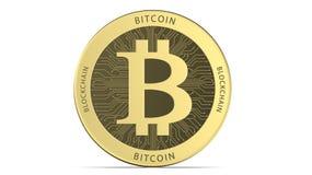 Cara del bitcoin de oro del cryptocurrency, representación 3d aislada en el fondo blanco 3d ejemplo, concepto de ilustración del vector
