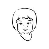 Cara del bosquejo de la muchacha soñolienta Fotografía de archivo