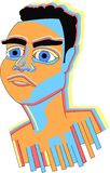 Cara del color de Rami Malek stock de ilustración