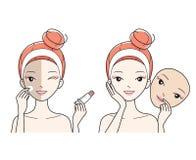 Cara del cuidado de la mujer joven, mala a la buena piel de la cara del color Imagen de archivo