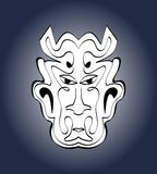 Cara del diablo, máscara del carnaval Dibujo simétrico caligráfico monocromático en fondo azul marino de la pendiente Ilustración Imagen de archivo