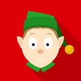 Cara del duende de la Navidad en estilo plano con las sombras largas Imágenes de archivo libres de regalías