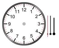 Cara del ejemplo del reloj con el minuto de la hora de los números y las segundas manos aislados en el fondo blanco con la trayec ilustración del vector