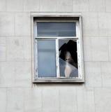 Cara del fantasma en la ventana Imagen de archivo libre de regalías