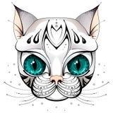 Cara del gato con los ojos grandes ilustración del vector