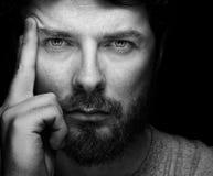 Cara del hombre confidente barbudo hermoso Imagenes de archivo