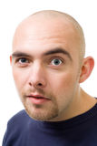 Cara del hombre en negrilla desconfiado Fotos de archivo