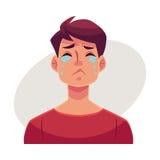 Cara del hombre joven, expresión facial gritadora ilustración del vector