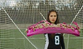 Cara del juego de la muchacha de LaCrosse Fotos de archivo