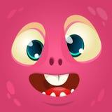 Cara del monstruo de la historieta Avatar del monstruo del rosa de Halloween del vector stock de ilustración