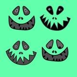 Cara del monstruo del animado de la historieta con sonrisa dentuda grande y pegar hacia fuera el ejemplo del vector de la lengua Fotografía de archivo