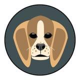 Cara del perro del beagle del vector de Digitaces ilustración del vector