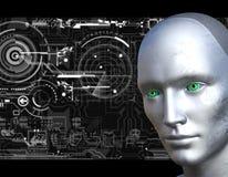 Cara del robot con el fondo de los circuitos electrónicos imagen de archivo libre de regalías