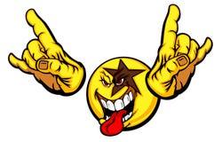 Cara del smiley de la estrella del rock Imagen de archivo