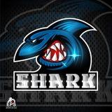 Cara del tiburón en perfil con el logotipo descubierto de los dientes para cualquier equipo de deporte stock de ilustración