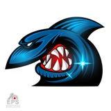 Cara del tiburón en perfil con el logotipo descubierto de los dientes para cualquier equipo de deporte aislado ilustración del vector