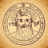 Cara del Todopoderoso con símbolos mágicos ilustración del vector