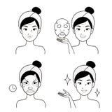 Cara del tratamiento de la mujer y de la máscara para la belleza stock de ilustración