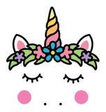 Cara del unicornio de Minimalistic con la guirnalda floral ilustración del vector