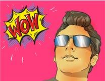 Cara del varón del arte pop del wow Hombre sorprendido atractivo joven en vidrios imagen de archivo
