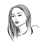 Cara dibujada mano de la mujer joven