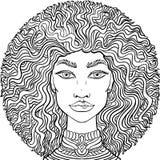 Cara dibujada mano de los girlss del garabato en el fondo blanco Retrato para mujer para el libro de colorear adulto stock de ilustración