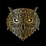 Cara dibujada mano del búho del vector Arte de Zentangle Ejemplo modelado étnico para el libro de colorear antiesfuerzo, tatuaje, libre illustration