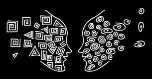 Cara a cara Dibujo de una línea blanca para hacer frente a la silueta de una cabeza humana en un fondo negro Foto de archivo