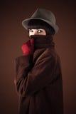 Cara disfrazada detective Imágenes de archivo libres de regalías