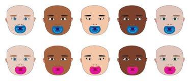 Cara do bebê de raças diferentes com manequim ilustração do vetor
