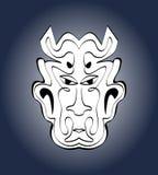 Cara do diabo, máscara do carnaval Desenho simétrico caligráfico monocromático na obscuridade - fundo azul do inclinação Ilustraç Imagem de Stock