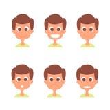 Cara do homem com as emoções ajustadas Ícones da emoção do homem isolados no branco Coleção dos avatars do homem Foto de Stock Royalty Free