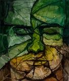 Cara do homem das folhas com olhos fechados fotografia de stock royalty free