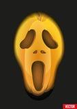 Cara do medo das abóboras para o fundo de Dia das Bruxas ou ilustração stock