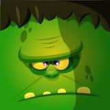 Cara do monstro dos desenhos animados de Dia das Bruxas Avatar ou ícone quadrado do monstro do vetor Fotos de Stock Royalty Free