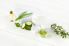 A cara do pepino e do aloés, a pele e o corpo de creme cosméticos importam-se a loção da umidade da higiene foto de stock royalty free